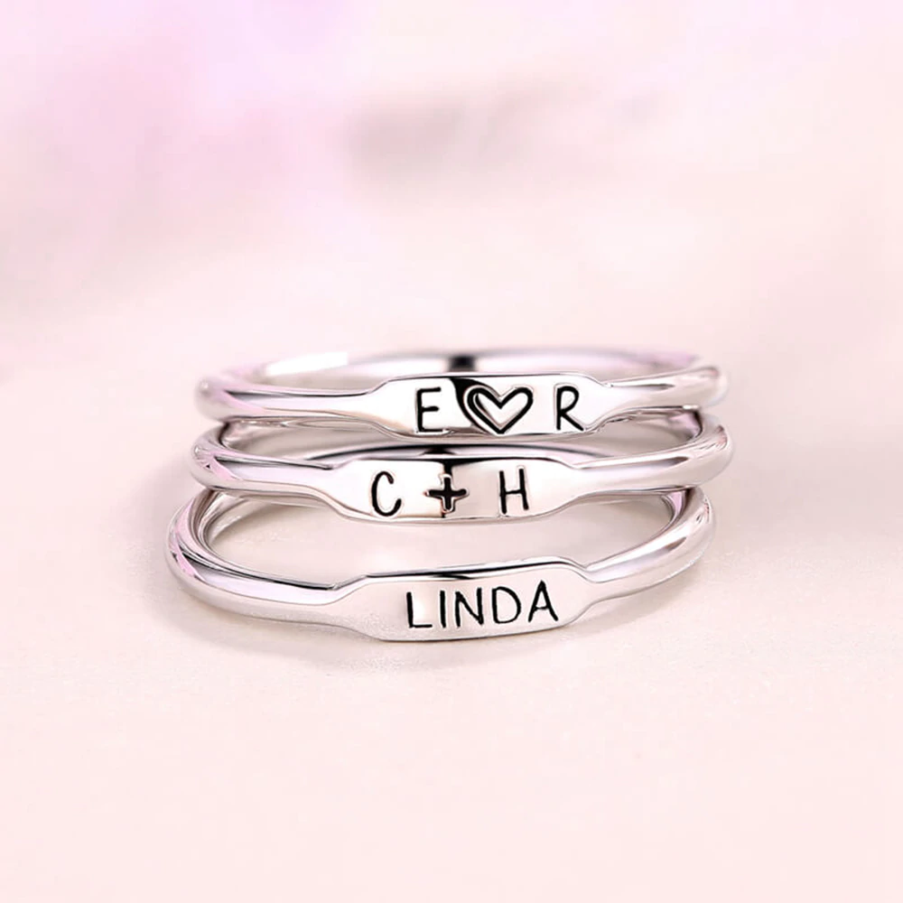 Personalized inspiration Sterling silver Stackable Rings
